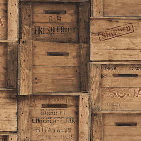 Fine Decor Wood Crates Brown 2701-22348