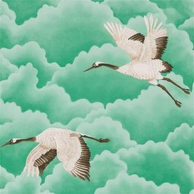 Harlequin Cranes In Flight Emerald 111233
