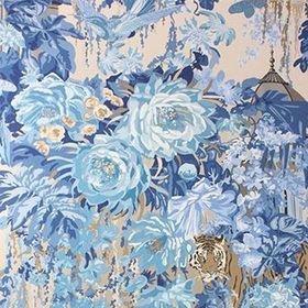 Matthew Williamson Mughal Garden Blue-Gilver W6958-04