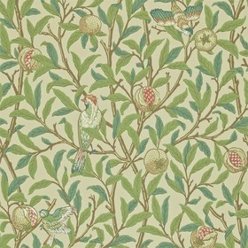 Morris & Co Bird & Pomegranate Bayleaf-Cream 216455