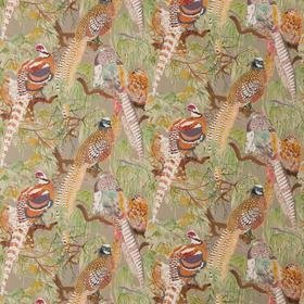 Mulberry Home Game Birds Linen Stone-Multi FD269-K102