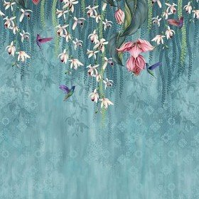 Osborne & Little Trailing Orchid Teal-Pink W7334-01
