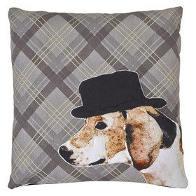S.J. Dixon Dog Embroidered Cushion Tartan 008245