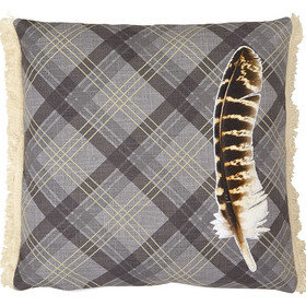 S.J. Dixon Feather Embroidered Cushion Charcoal Tartan 008246
