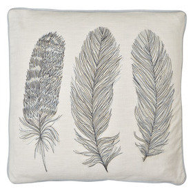 S.J. Dixon Feather Embroidered Cushion Blue 008251