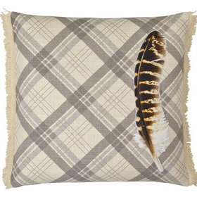 S.J. Dixon Feather Embroidered Cushion Cream Tartan 008243