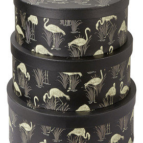 S.J. Dixon Lagoon Set Of 3 Round Storage Boxes Black 007002