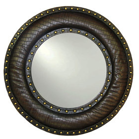 S.J. Dixon Round Faux Leather Studded Mirror Brown 008264