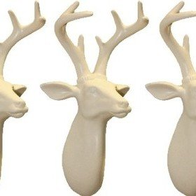 S.J. Dixon Set Of 3 Mini Stag Heads Cream 008257