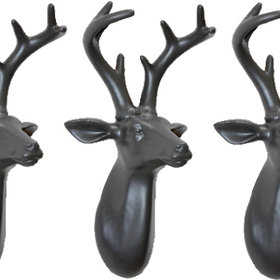 S.J. Dixon Set Of 3 Mini Stag Heads Dark Grey 008259