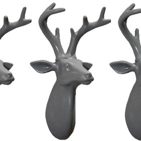 S.J. Dixon Set Of 3 Mini Stag Heads Light Grey 008258