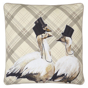 S.J. Dixon Top Hat & Tails Embroidered Cushion Tartan 008242