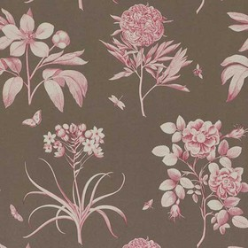 Sanderson Etchings & Roses Chocolate-Pink DPFWER102