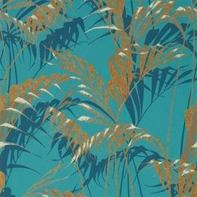 Sanderson Palm House Teal-Gold 216640