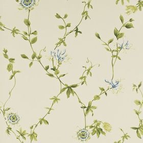 Sanderson Passion Flower Ivory-China Blue DPEMPF101