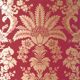 Thibaut Addison Damask Metallic on Cranberry T3849