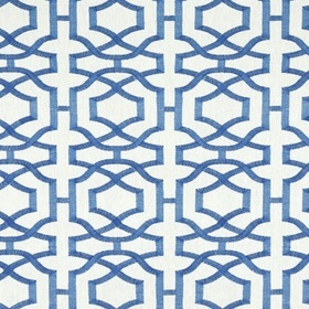 Thibaut Alston Trellis Blue on White W713029