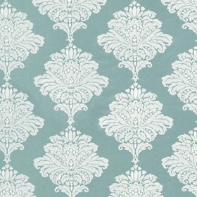 Thibaut Arturo Damask White on Turquoise W713015