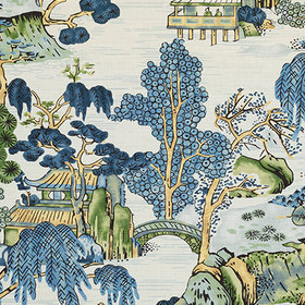 Thibaut Asian Scenic Blue and Green F975462