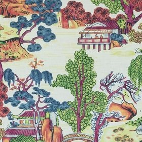 Thibaut Asian Scenic Coral and Green F975464