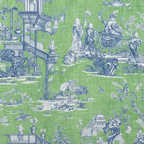 Thibaut Cheng Toile Green and Blue F975467