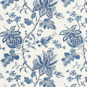 Thibaut Donegal Printed Fabrics Blue and White F913004