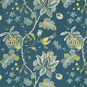 Thibaut Donegal Printed Fabrics Peacock Blue F913002