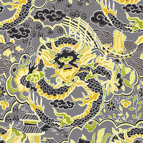 Thibaut Imperial Dragon Charcoal and Yellow T14234