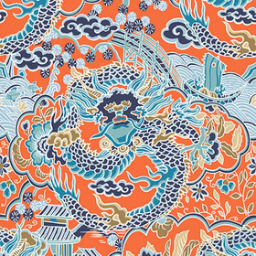 Thibaut Imperial Dragon Coral and Turquoise T14237