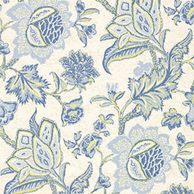 Thibaut Jacobean Trail Blue on Green T3310