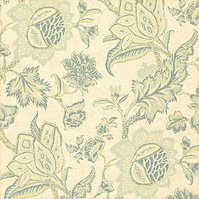 Thibaut Jacobean Trail Teal and Cream T3313