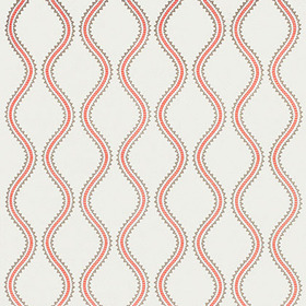 Thibaut Juniper Ogee Embroidery Coral and Stone W764106