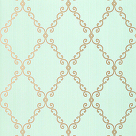 Thibaut London Trellis Metallic on Aqua T4737