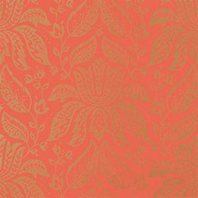 Thibaut Luxembourg Damask Metallic on Red T1334