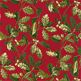 Thibaut Oak Leaves Red T5618