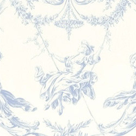 Thibaut Rockwood Toile Periwinkle on White T7363