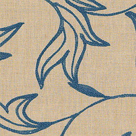 Thibaut Shalimar Embroidery Blue on Natural W88024