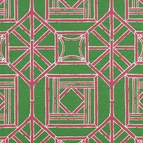 Thibaut Shoji Panel Green and Pink F975517