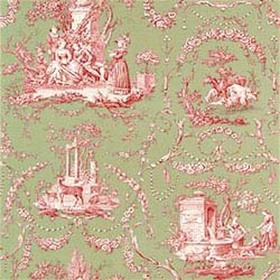 Thibaut Springfield Toile Pink on Green T6907