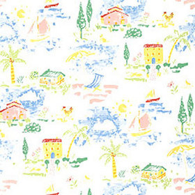Thibaut Vacation Brights on White T3955