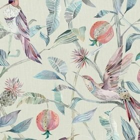 Voyage Colyford Loganberry Parchment Fabric