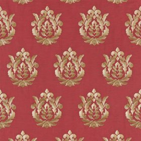 Zoffany Broidery Damask Red-Gold ZPER01001