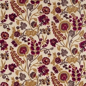Zoffany Hardwick Crewel Antique Gold-Cinnabar 332969