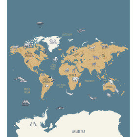 Caselio World Map Bleu-Beige OUP102032066