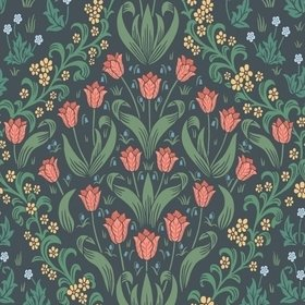 Cole & Son Tudor Garden Rouge-Forest Green-Charcoal 118-2002