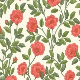 Cole & Son Hampton Roses Rouge-Spring Green-Parchment 118-7013