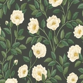 Cole & Son Hampton Roses Cream-Forest Green-Charcoal 118-7016