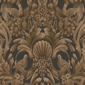 Cole & Son Gibbons Carving Metallic Bronze-Charcoal 118-9018