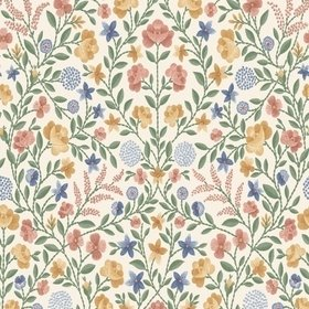 Cole & Son Court Embroidery Coral-Marigold-Hyacinth-Parchment 118-13029