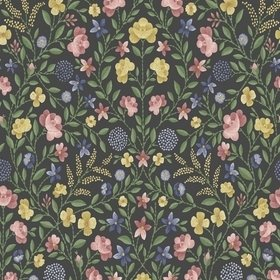 Cole & Son Court Embroidery Yellow-Rose-Hyacinth-Charcoal 118-13030